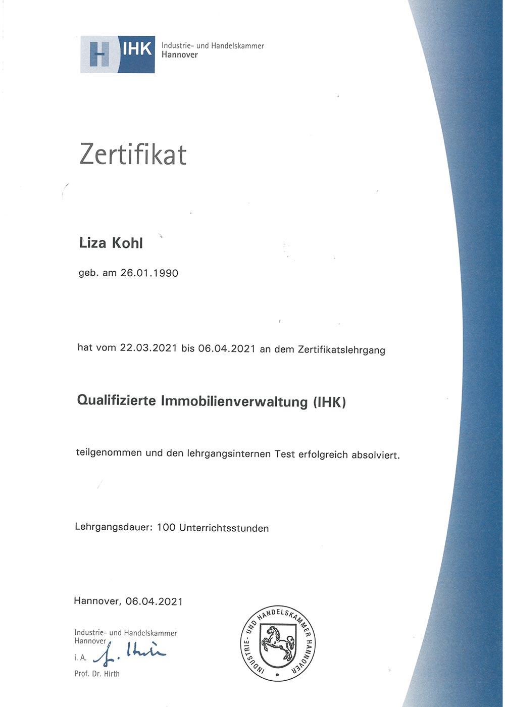 IHK-Zertifikat-Hausverwalterin Liza Kohl, Geschäftsführerin von LIZA IMMOBILIEN