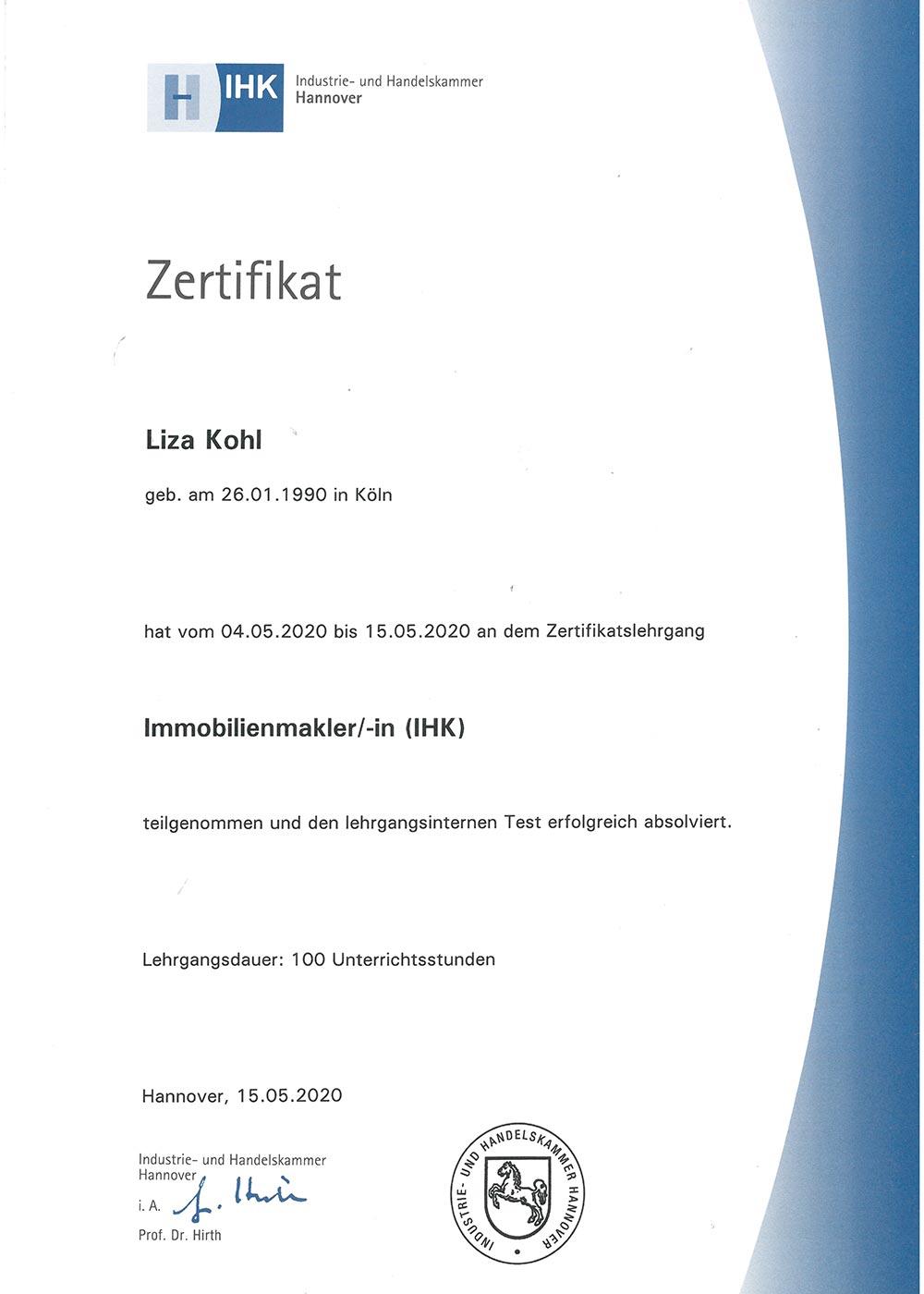 IHK-Zertifikat-Immobilienmaklerin Liza Kohl, Geschäftsführerin von LIZA IMMOBILIEN